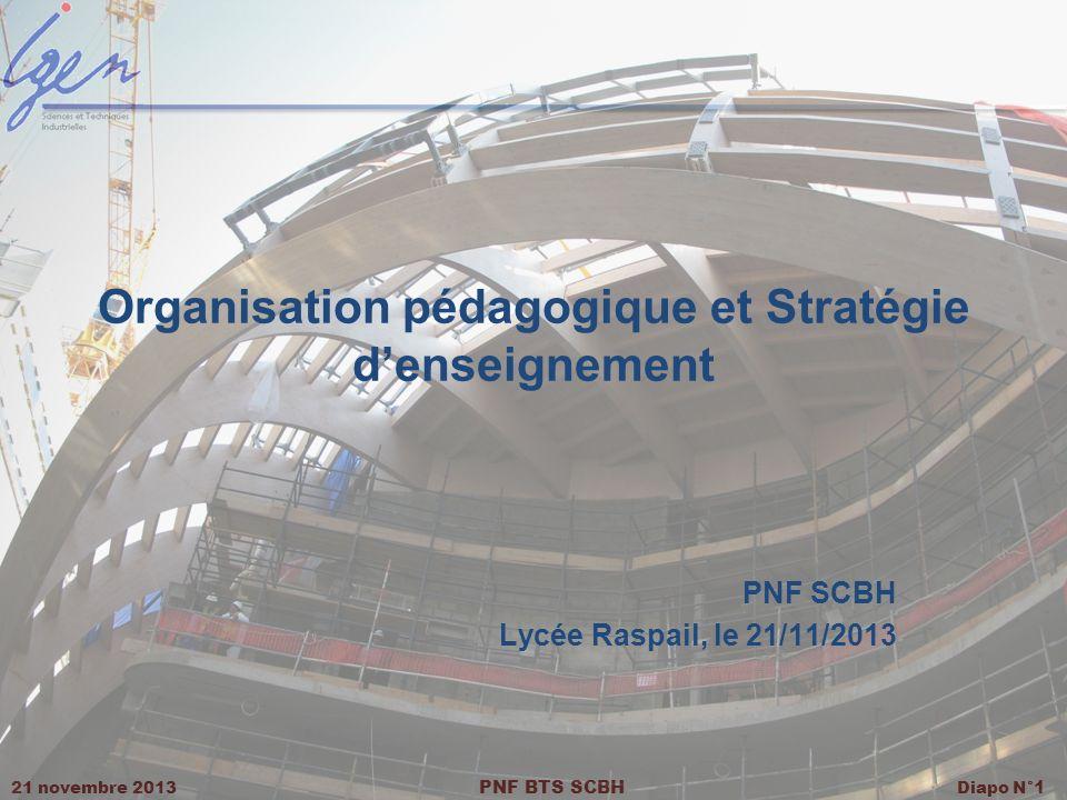 21 novembre 2013 PNF BTS SCBH Diapo N° 1 Organisation pédagogique et Stratégie denseignement PNF SCBH Lycée Raspail, le 21/11/2013