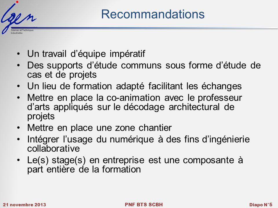 21 novembre 2013 PNF BTS SCBH Diapo N° 5 Recommandations Un travail déquipe impératif Des supports détude communs sous forme détude de cas et de proje