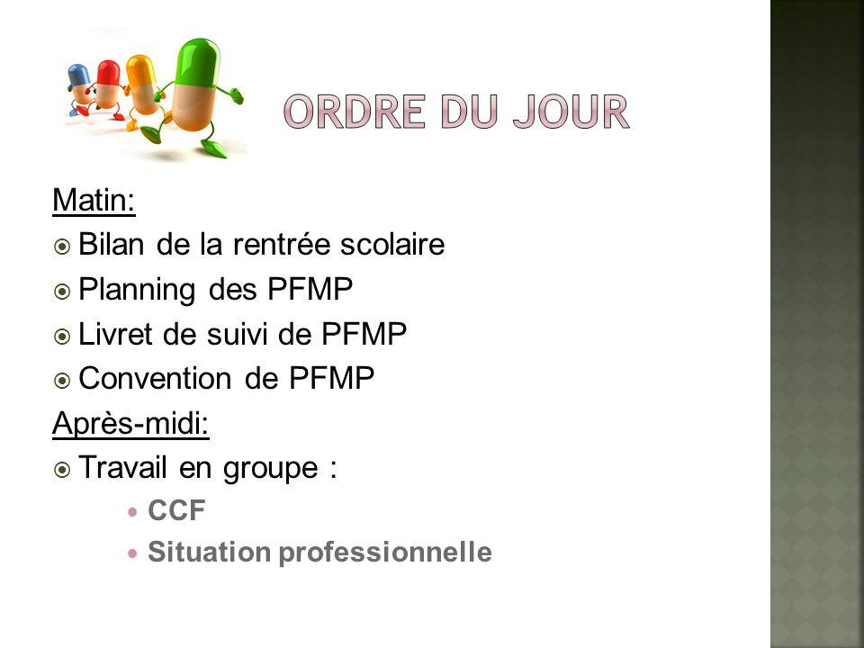 Matin: Bilan de la rentrée scolaire Planning des PFMP Livret de suivi de PFMP Convention de PFMP Après-midi: Travail en groupe : CCF Situation profess