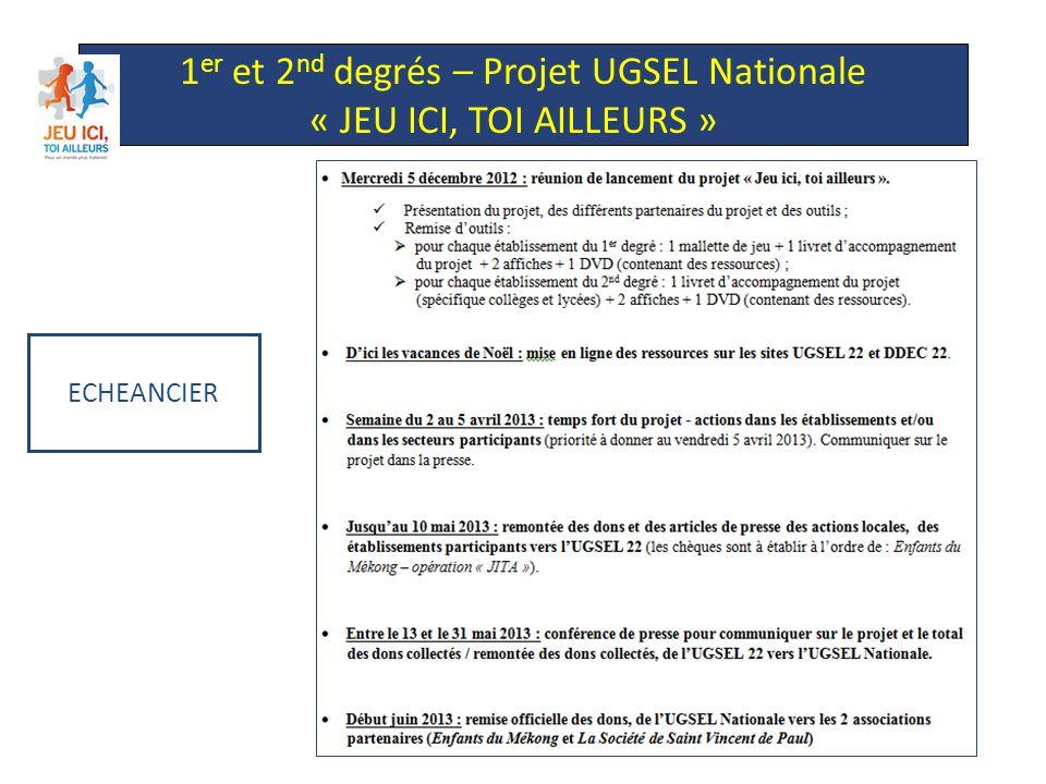 ECHEANCIER 1 er et 2 nd degrés – Projet UGSEL Nationale « JEU ICI, TOI AILLEURS »