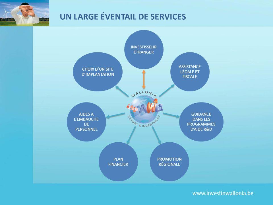 www.investinwallonia.be UN LARGE ÉVENTAIL DE SERVICES INVESTISSEUR ÉTRANGER ASSISTANCE LÉGALE ET FISCALE GUIDANCE DANS LES PROGRAMMES DAIDE R&D PROMOT