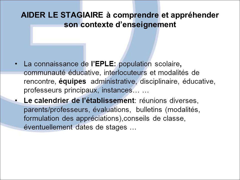 AIDER LE STAGIAIRE à comprendre et appréhender son contexte denseignement La connaissance de lEPLE: population scolaire, communauté éducative, interlo
