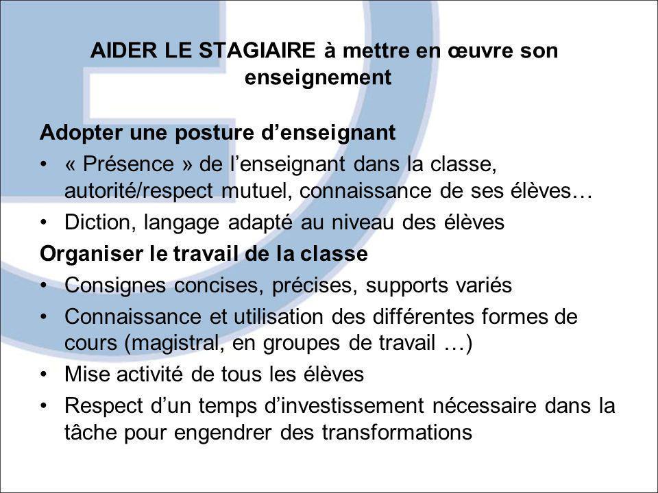 AIDER LE STAGIAIRE à mettre en œuvre son enseignement Adopter une posture denseignant « Présence » de lenseignant dans la classe, autorité/respect mut
