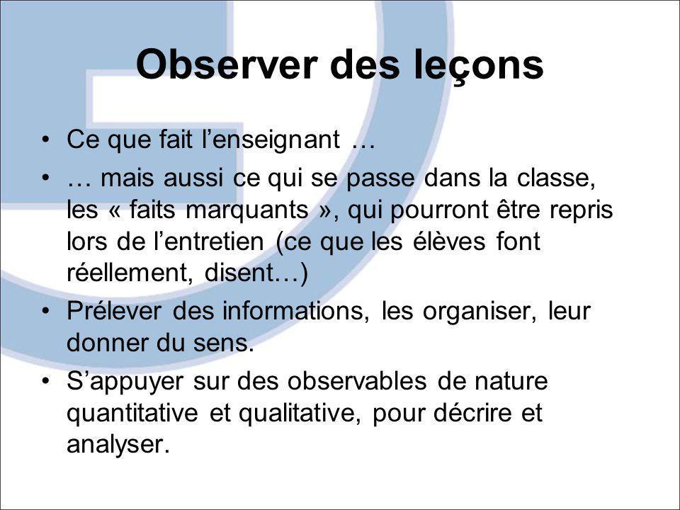Observer des leçons Ce que fait lenseignant … … mais aussi ce qui se passe dans la classe, les « faits marquants », qui pourront être repris lors de l