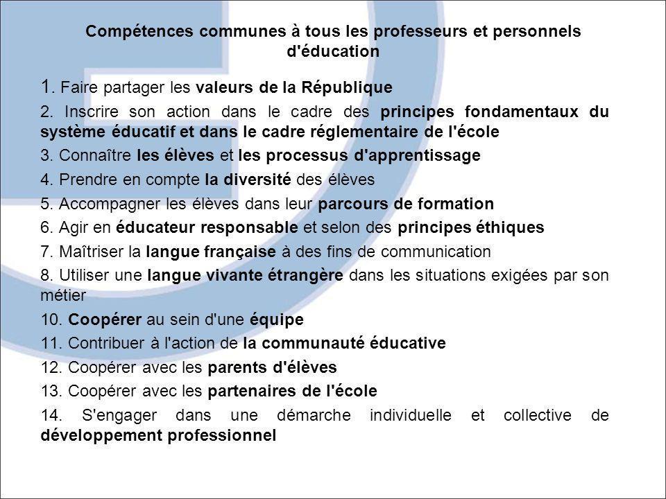 Compétences communes à tous les professeurs et personnels d'éducation 1. Faire partager les valeurs de la République 2. Inscrire son action dans le ca