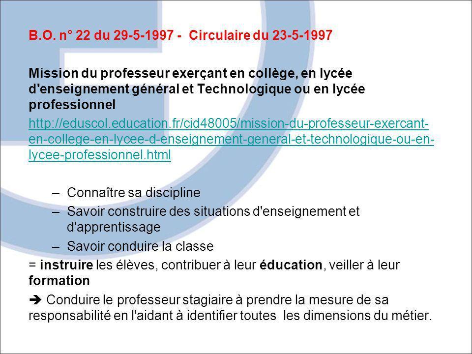 B.O. n° 22 du 29-5-1997 - Circulaire du 23-5-1997 Mission du professeur exerçant en collège, en lycée d'enseignement général et Technologique ou en ly