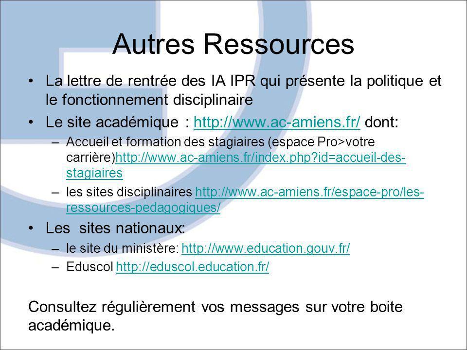 Autres Ressources La lettre de rentrée des IA IPR qui présente la politique et le fonctionnement disciplinaire Le site académique : http://www.ac-amie