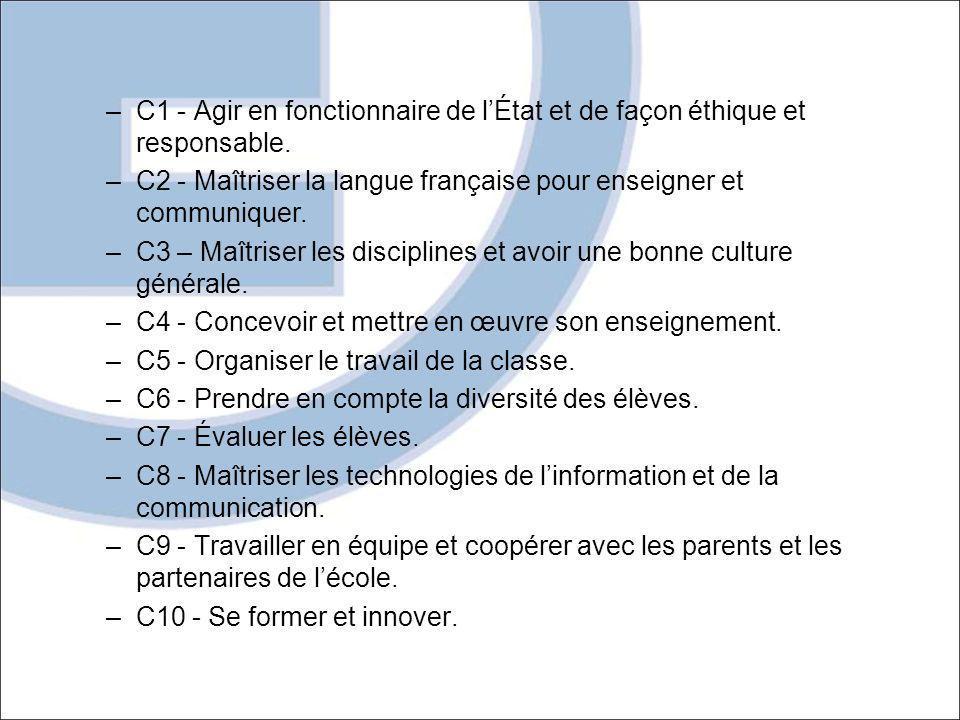 –C1 - Agir en fonctionnaire de lÉtat et de façon éthique et responsable. –C2 - Maîtriser la langue française pour enseigner et communiquer. –C3 – Maît