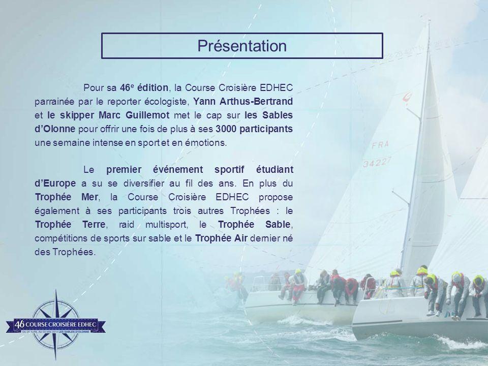 Présentation Pour sa 46 e édition, la Course Croisière EDHEC parrainée par le reporter écologiste, Yann Arthus-Bertrand et le skipper Marc Guillemot m
