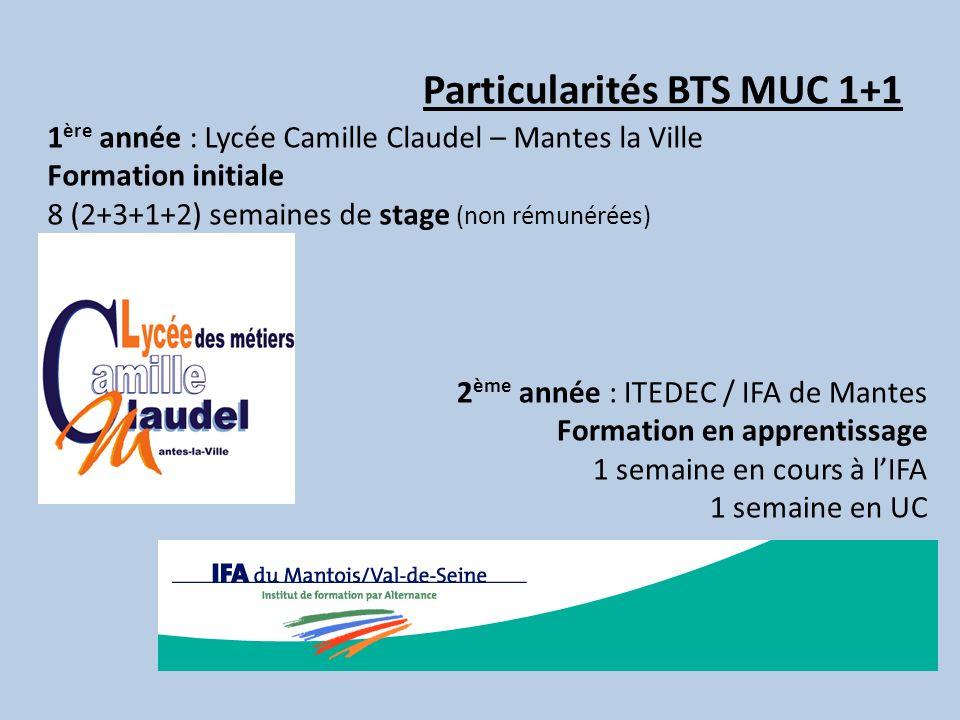 Particularités BTS MUC 1+1 1 ère année : Lycée Camille Claudel – Mantes la Ville Formation initiale 8 (2+3+1+2) semaines de stage (non rémunérées) 2 è