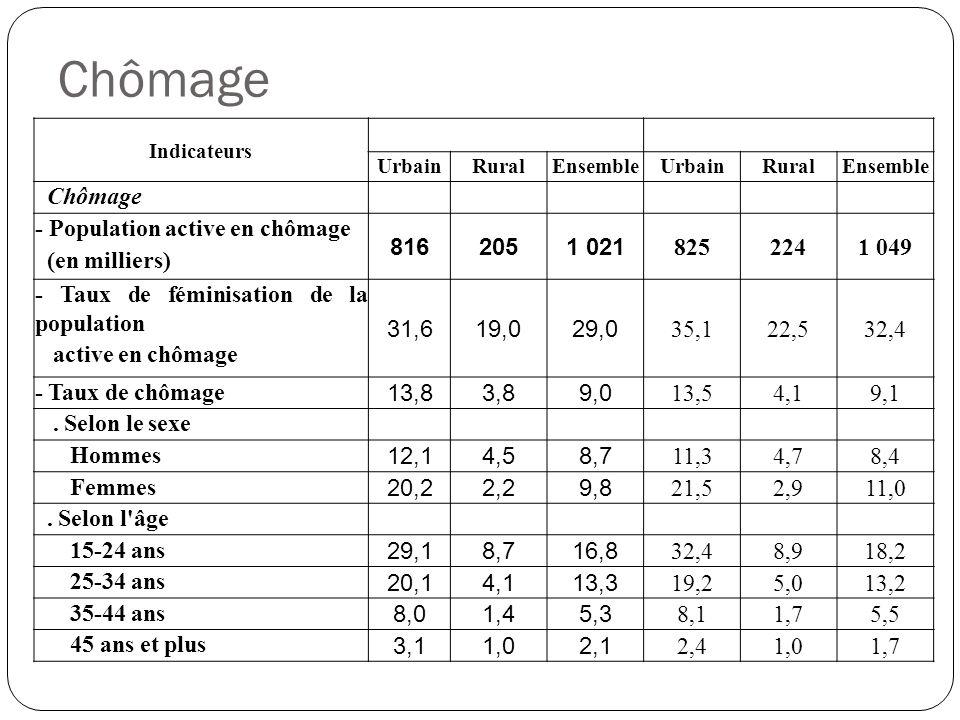 Chômage Indicateurs UrbainRuralEnsembleUrbainRuralEnsemble Chômage - Population active en chômage (en milliers) 8162051 021 8252241 049 - Taux de fémi