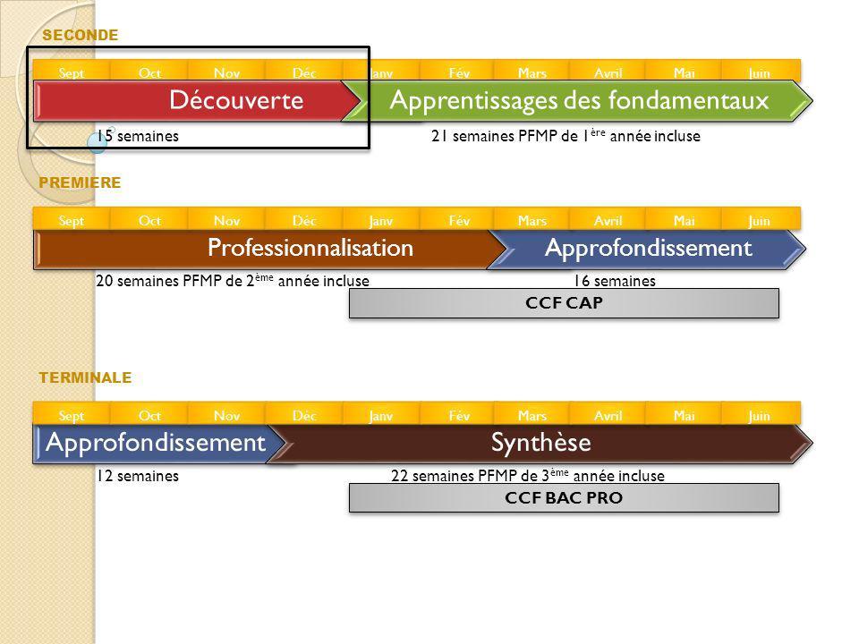 SECONDE CCF CAP Sept Oct Nov Déc Janv Fév Mars Avril Mai Juin DécouverteApprentissages des fondamentaux ProfessionnalisationApprofondissement Synthèse