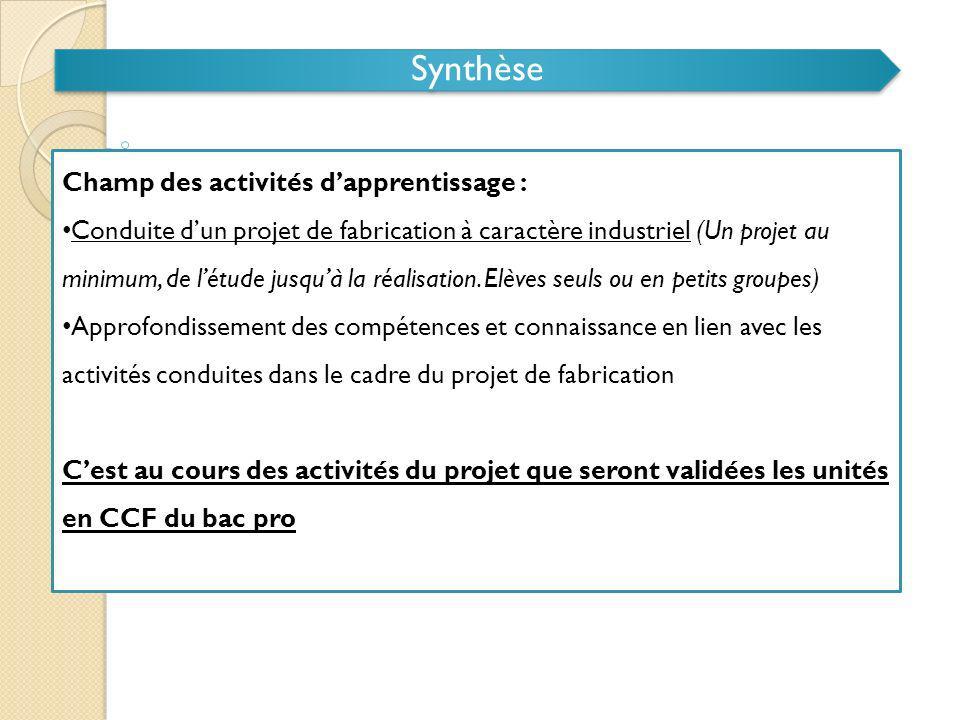 Synthèse Champ des activités dapprentissage : Conduite dun projet de fabrication à caractère industriel (Un projet au minimum, de létude jusquà la réa