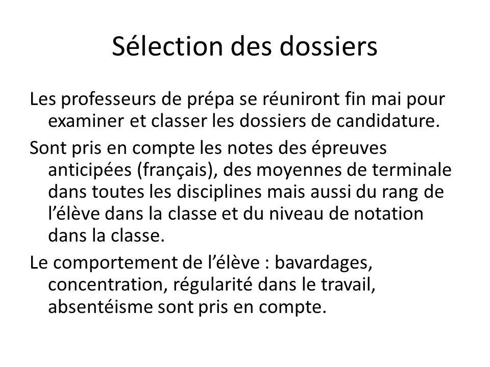 Sélection des dossiers Les professeurs de prépa se réuniront fin mai pour examiner et classer les dossiers de candidature.