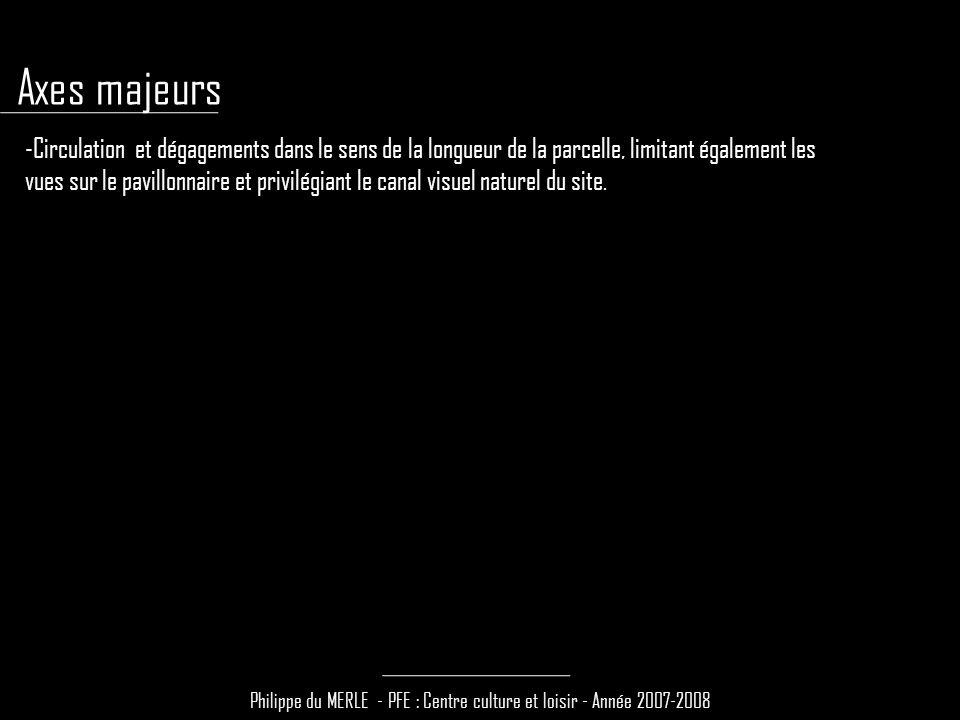 Philippe du MERLE - PFE : Centre culture et loisir - Année 2007-2008 -Circulation et dégagements dans le sens de la longueur de la parcelle, limitant également les vues sur le pavillonnaire et privilégiant le canal visuel naturel du site.