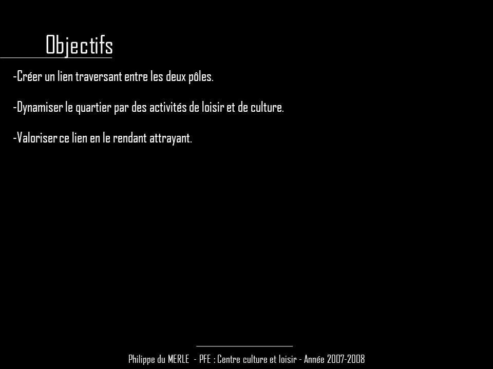 Philippe du MERLE - PFE : Centre culture et loisir - Année 2007-2008 -Créer un lien traversant entre les deux pôles.