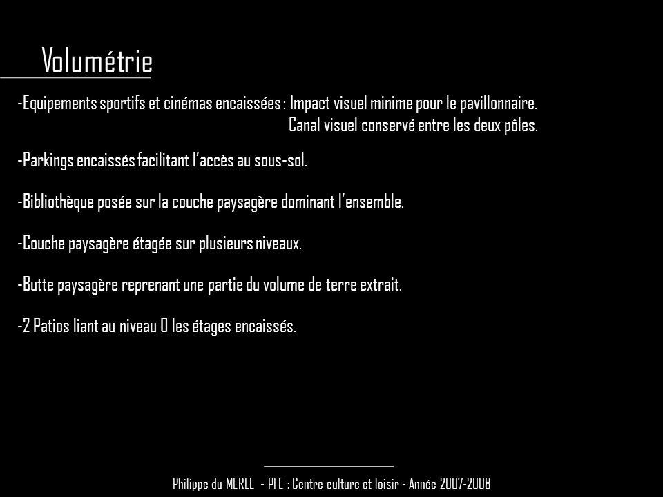 Philippe du MERLE - PFE : Centre culture et loisir - Année 2007-2008 -Equipements sportifs et cinémas encaissées : Impact visuel minime pour le pavill