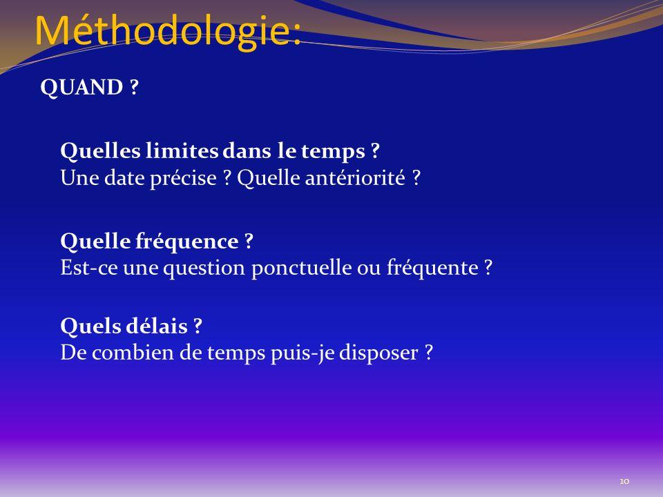 Méthodologie: QUAND ? Quelles limites dans le temps ? Une date précise ? Quelle antériorité ? Quelle fréquence ? Est-ce une question ponctuelle ou fré