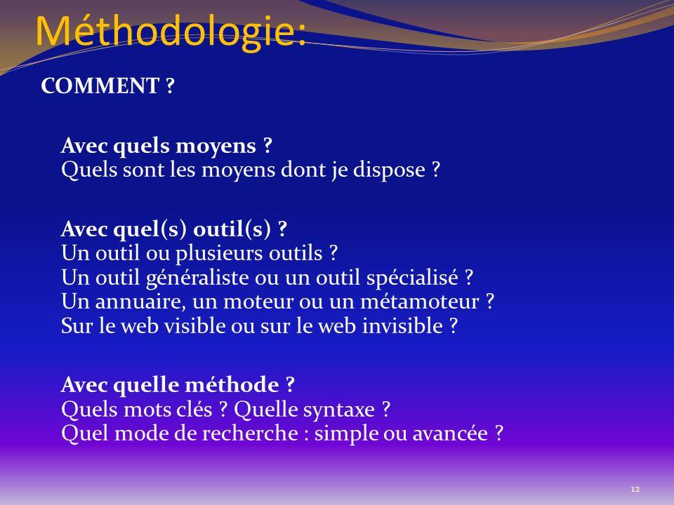 Méthodologie: COMMENT ? Avec quels moyens ? Quels sont les moyens dont je dispose ? Avec quel(s) outil(s) ? Un outil ou plusieurs outils ? Un outil gé