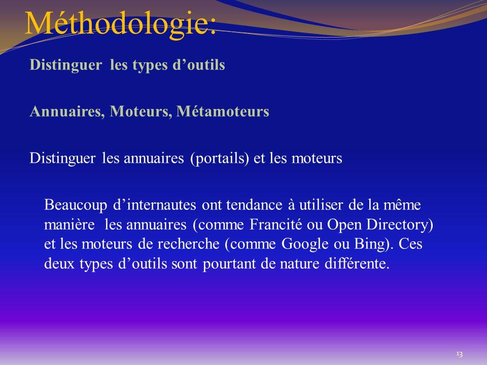 Méthodologie: Distinguer les types doutils Annuaires, Moteurs, Métamoteurs Distinguer les annuaires (portails) et les moteurs Beaucoup dinternautes on