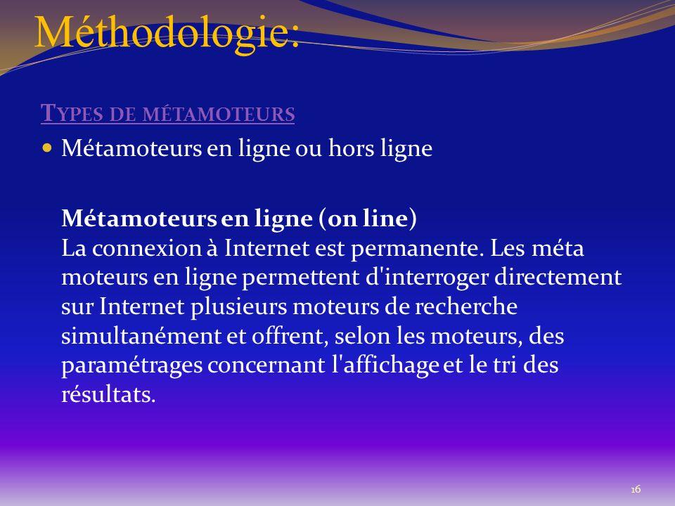 Méthodologie: T YPES DE MÉTAMOTEURS Métamoteurs en ligne ou hors ligne Métamoteurs en ligne (on line) La connexion à Internet est permanente. Les méta