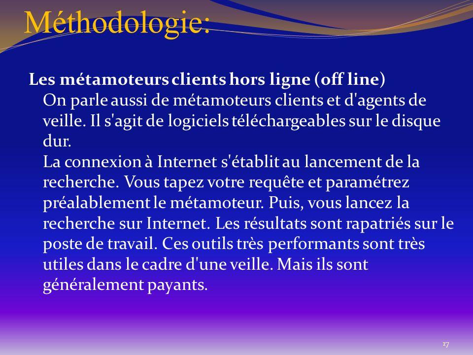 Méthodologie: Les métamoteurs clients hors ligne (off line) On parle aussi de métamoteurs clients et d'agents de veille. Il s'agit de logiciels téléch