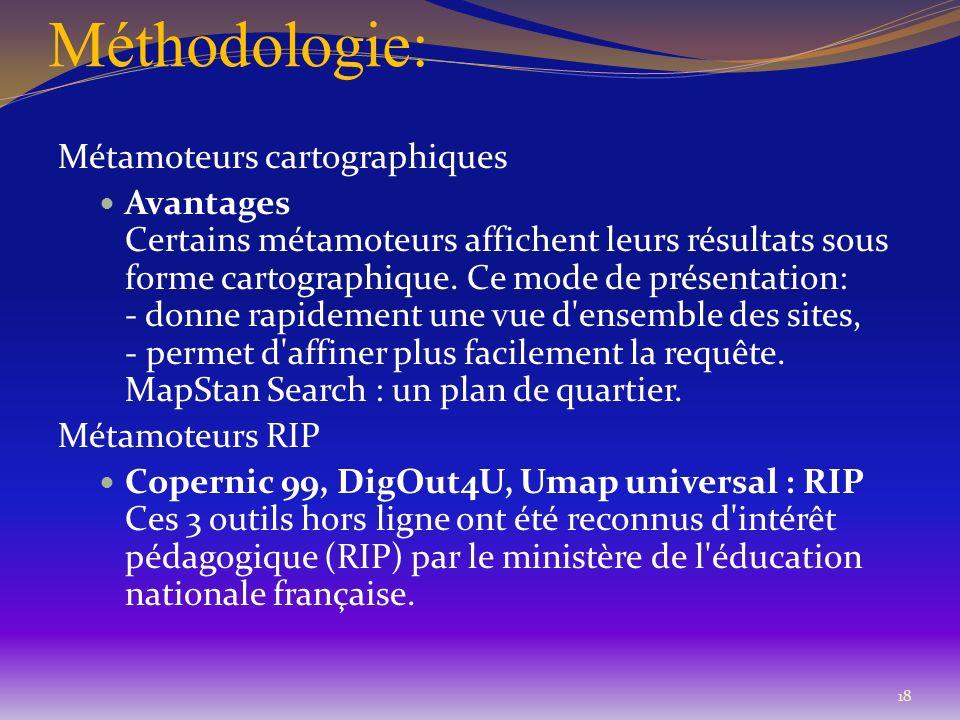 Méthodologie: Métamoteurs cartographiques Avantages Certains métamoteurs affichent leurs résultats sous forme cartographique. Ce mode de présentation: