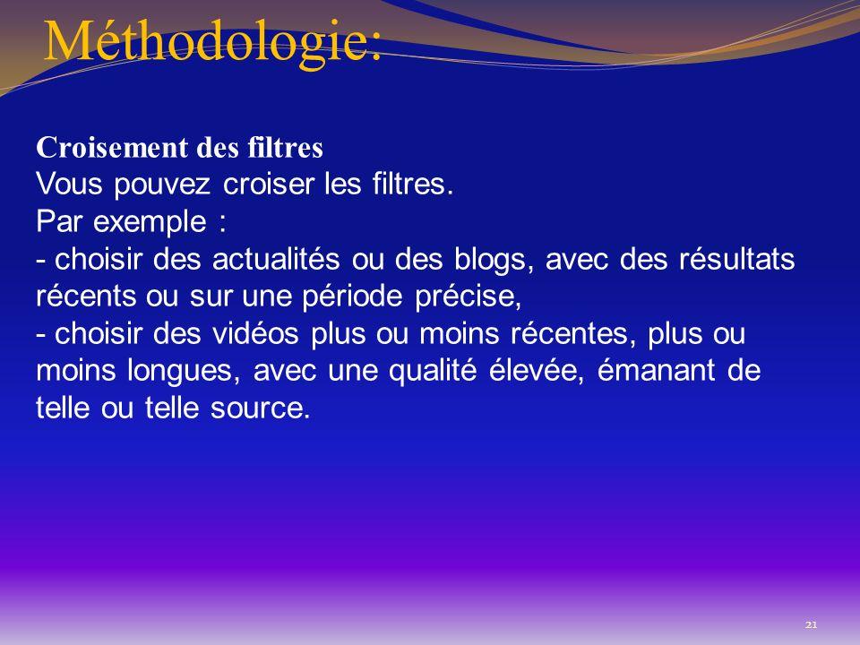 Méthodologie: Croisement des filtres Vous pouvez croiser les filtres. Par exemple : - choisir des actualités ou des blogs, avec des résultats récents