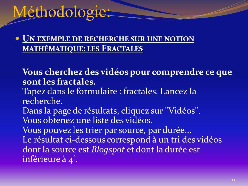 Méthodologie: U N EXEMPLE DE RECHERCHE SUR UNE NOTION MATHÉMATIQUE : LES F RACTALES Vous cherchez des vidéos pour comprendre ce que sont les fractales