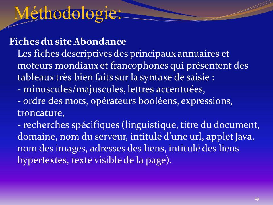 Méthodologie: Fiches du site Abondance Les fiches descriptives des principaux annuaires et moteurs mondiaux et francophones qui présentent des tableau