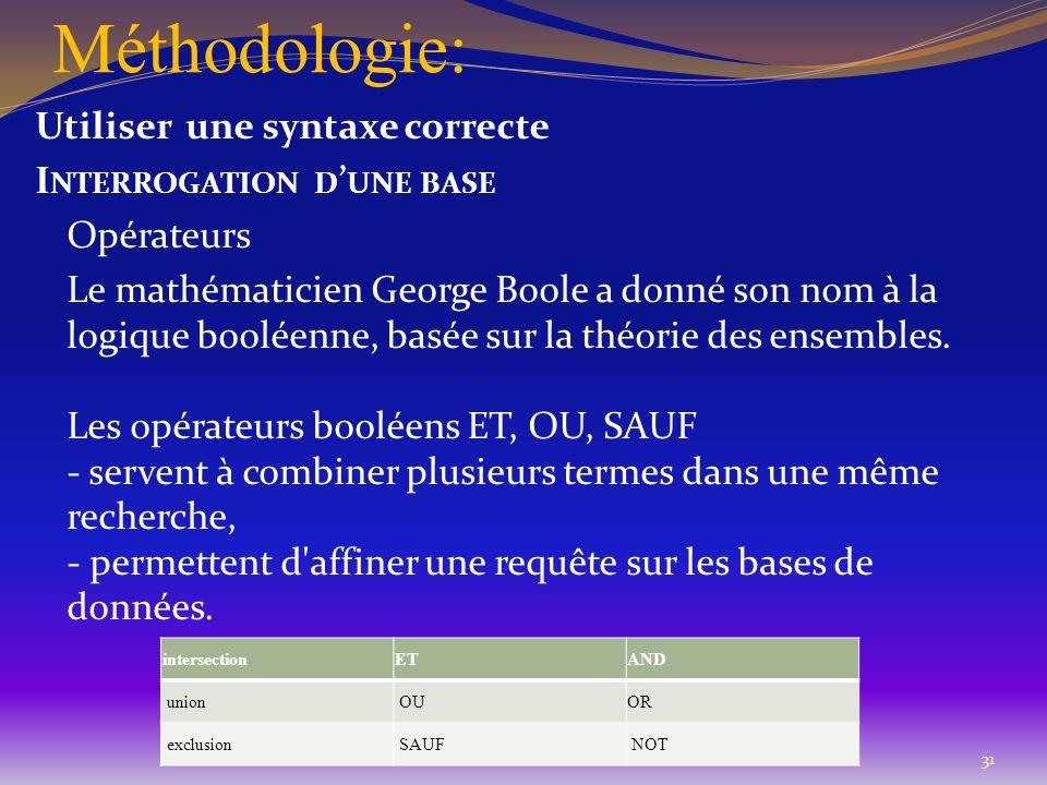 Méthodologie: Utiliser une syntaxe correcte I NTERROGATION D UNE BASE Opérateurs Le mathématicien George Boole a donné son nom à la logique booléenne,