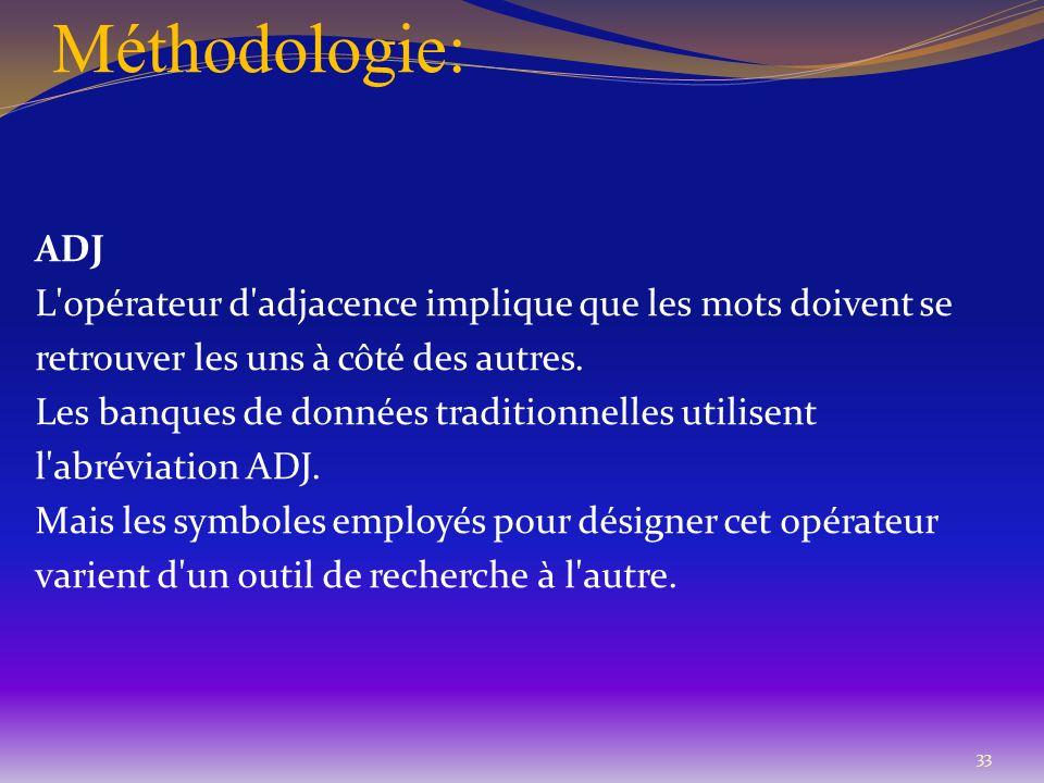 Méthodologie: ADJ L'opérateur d'adjacence implique que les mots doivent se retrouver les uns à côté des autres. Les banques de données traditionnelles