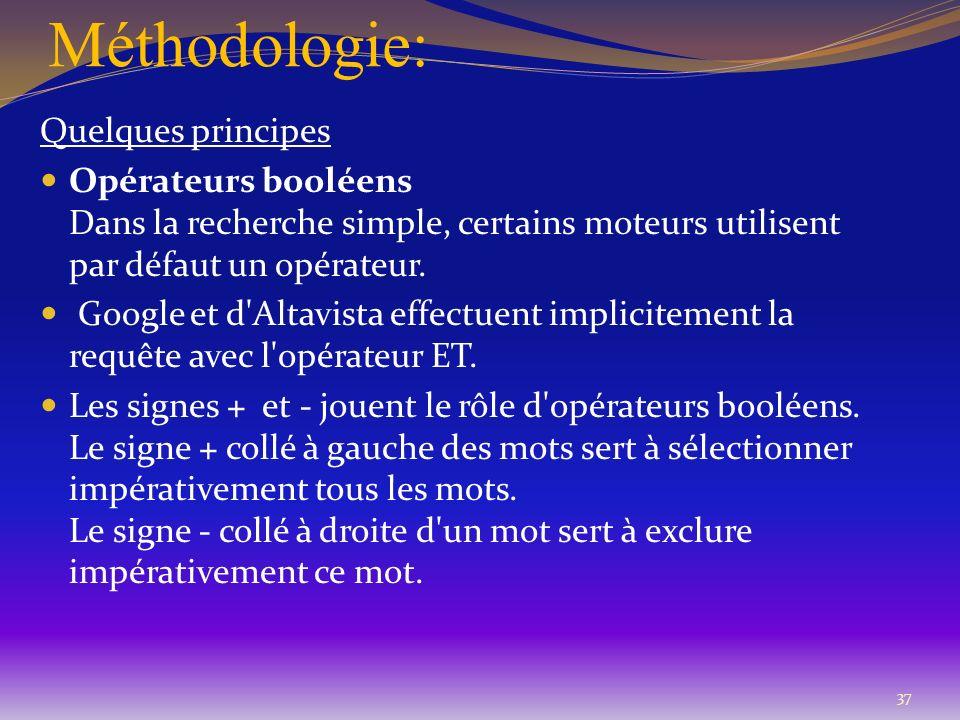Méthodologie: 37 Quelques principes Opérateurs booléens Dans la recherche simple, certains moteurs utilisent par défaut un opérateur. Google et d'Alta