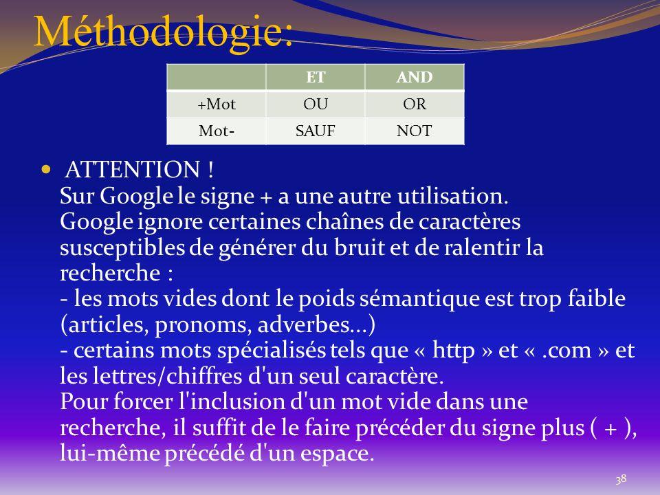 Méthodologie: 38 ATTENTION ! Sur Google le signe + a une autre utilisation. Google ignore certaines chaînes de caractères susceptibles de générer du b