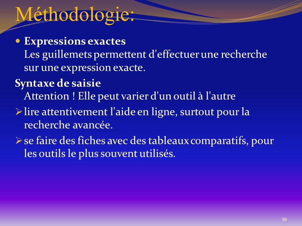 Méthodologie: 39 Expressions exactes Les guillemets permettent d'effectuer une recherche sur une expression exacte. Syntaxe de saisie Attention ! Elle