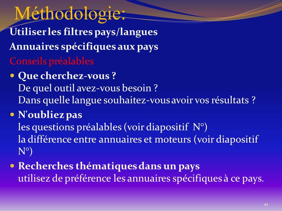Méthodologie: 41 Utiliser les filtres pays/langues Annuaires spécifiques aux pays Conseils préalables Que cherchez-vous ? De quel outil avez-vous beso