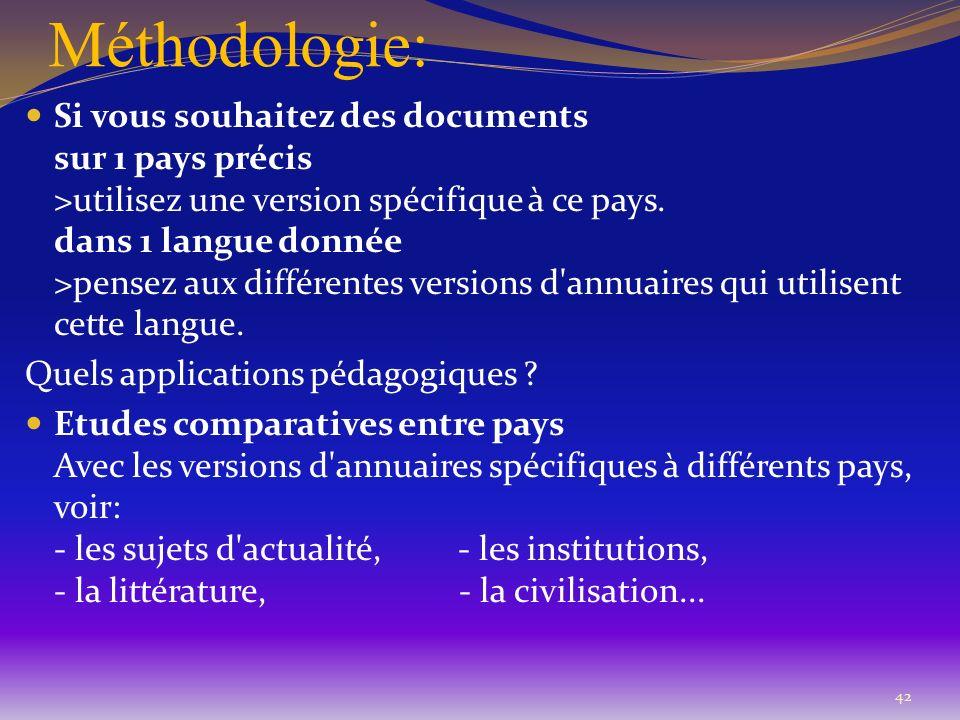 Méthodologie: 42 Si vous souhaitez des documents sur 1 pays précis >utilisez une version spécifique à ce pays. dans 1 langue donnée >pensez aux différ