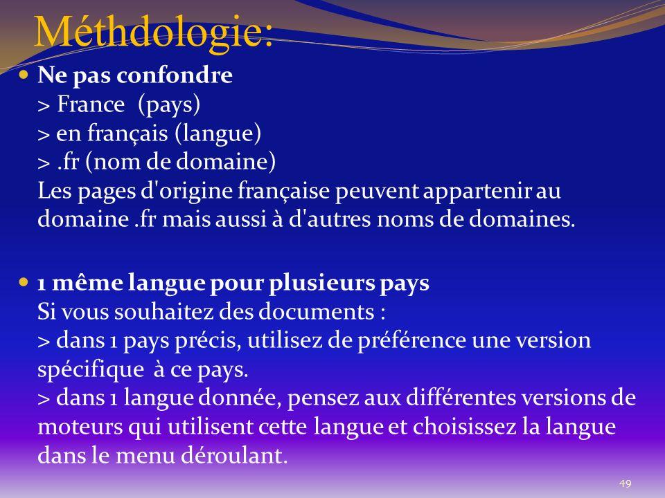 Méthdologie: 49 Ne pas confondre > France (pays) > en français (langue) >.fr (nom de domaine) Les pages d'origine française peuvent appartenir au doma