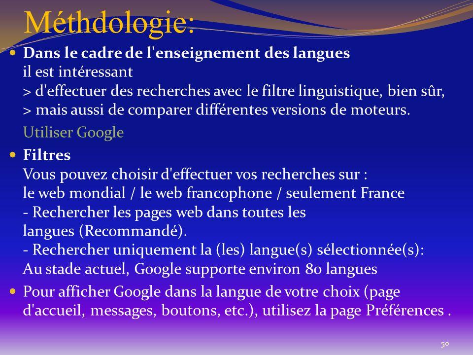 Méthdologie: 50 Dans le cadre de l'enseignement des langues il est intéressant > d'effectuer des recherches avec le filtre linguistique, bien sûr, > m