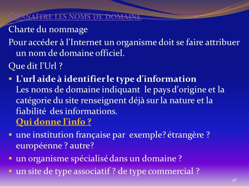 56 C ONNAÎTRE LES NOMS DE DOMAINE Charte du nommage Pour accéder à l'Internet un organisme doit se faire attribuer un nom de domaine officiel. Que dit