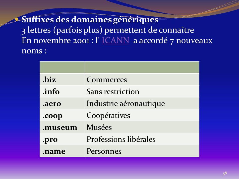 58 Suffixes des domaines génériques 3 lettres (parfois plus) permettent de connaître En novembre 2001 : l' ICANN a accordé 7 nouveaux noms :ICANN.bizC