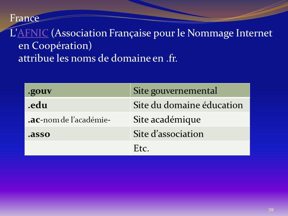 59 France L'AFNIC (Association Française pour le Nommage Internet en Coopération) attribue les noms de domaine en.fr.AFNIC.gouvSite gouvernemental.edu
