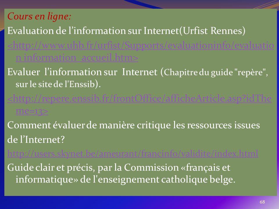 68 Cours en ligne: Evaluation de linformation sur Internet(Urfist Rennes) <http://www.uhb.fr/urfist/Supports/evaluationinfo/evaluatio n information_ac