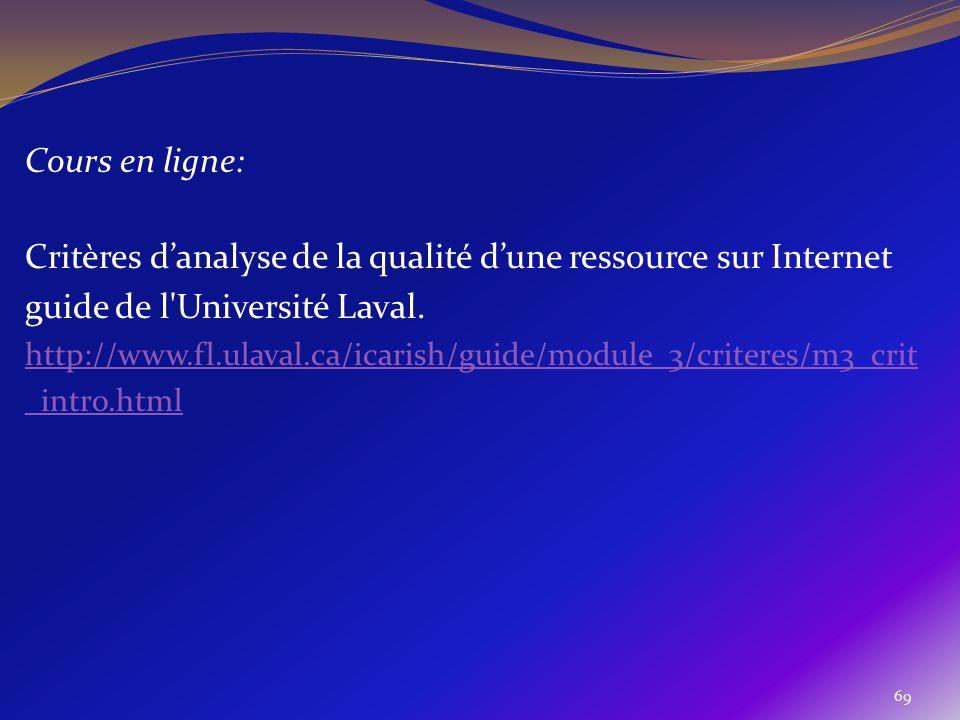 69 Cours en ligne: Critères danalyse de la qualité dune ressource sur Internet guide de l'Université Laval. http://www.fl.ulaval.ca/icarish/guide/modu