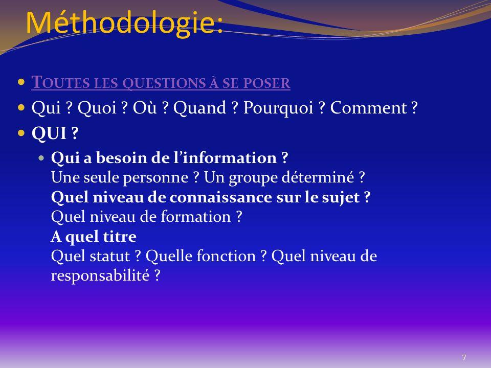 Méthodologie: T OUTES LES QUESTIONS À SE POSER T OUTES LES QUESTIONS À SE POSER Qui ? Quoi ? Où ? Quand ? Pourquoi ? Comment ? QUI ? Qui a besoin de l