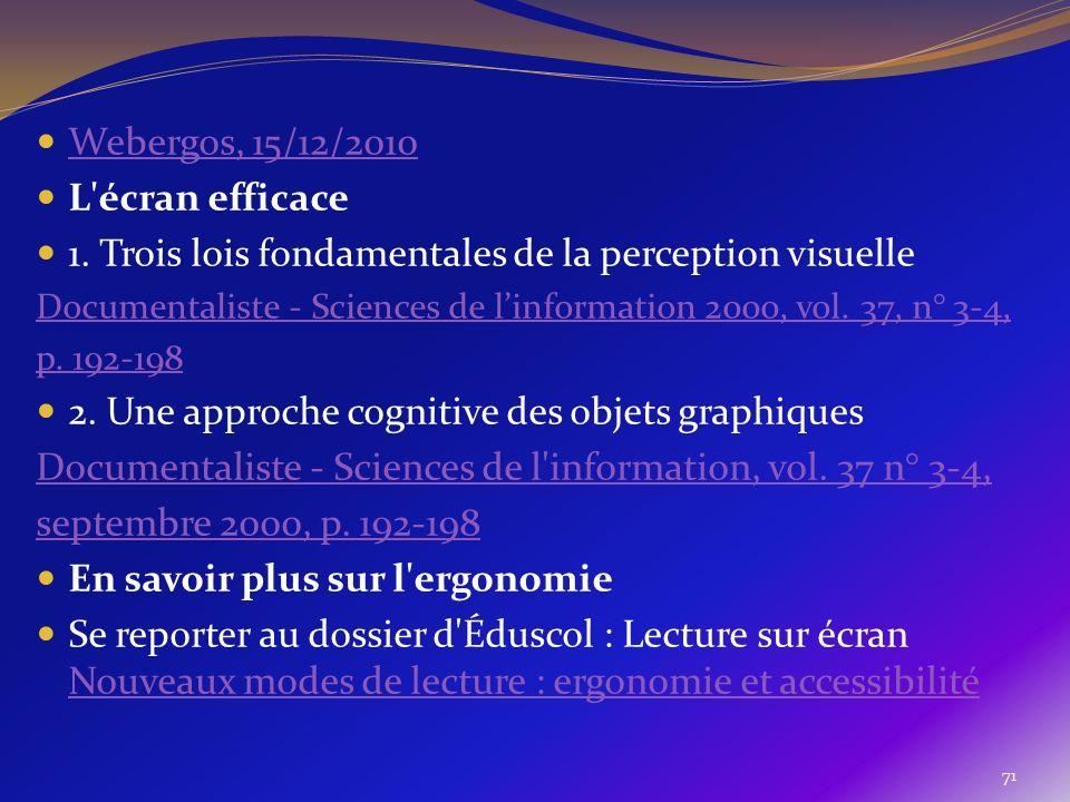 71 Webergos, 15/12/2010 L'écran efficace 1. Trois lois fondamentales de la perception visuelle Documentaliste - Sciences de linformation 2000, vol. 37