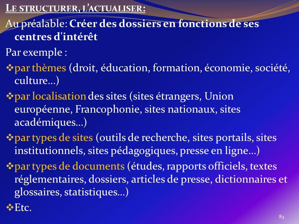 83 L E STRUCTURER, L ACTUALISER : Au préalable: Créer des dossiers en fonctions de ses centres d'intérêt Par exemple : par thèmes (droit, éducation, f