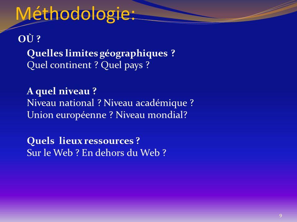 Méthodologie: OÙ ? Quelles limites géographiques ? Quel continent ? Quel pays ? A quel niveau ? Niveau national ? Niveau académique ? Union européenne