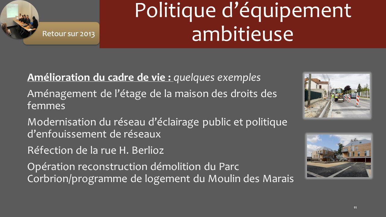 Politique déquipement ambitieuse Amélioration du cadre de vie : quelques exemples Aménagement de létage de la maison des droits des femmes Modernisati