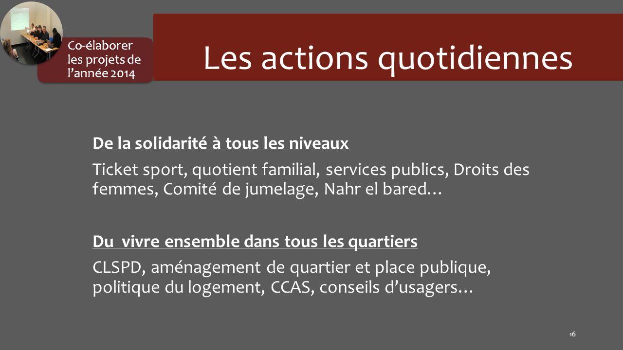 De la solidarité à tous les niveaux Ticket sport, quotient familial, services publics, Droits des femmes, Comité de jumelage, Nahr el bared… Du vivre